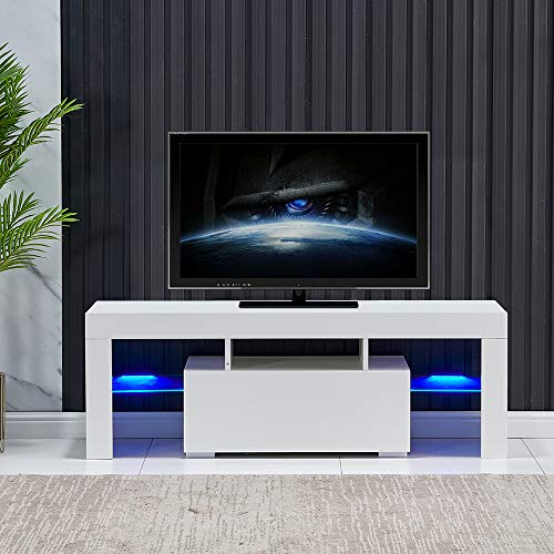 """nozama White LED TV Stand for 50"""" TV Modern Media Stand High Gloss TV Console for Living Room Modern Media Console Cabinet with Drawer White Entertainment Cabinet Table with 16 Colored Light Strips"""