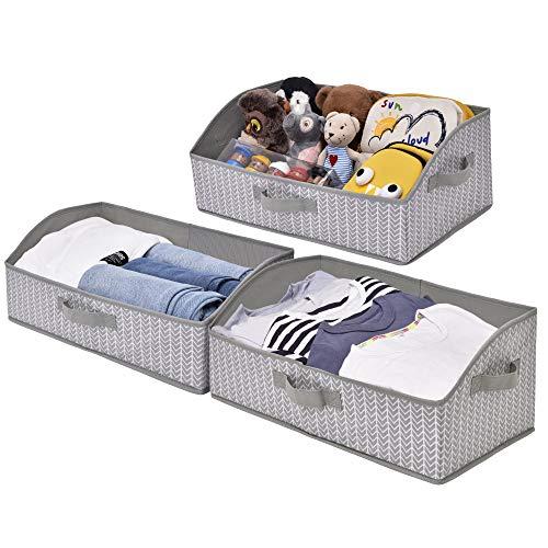 UMI Aufbewahrungsbox, Organizer Ordnungsbox für Wandschrank, Regal, Trapezaufbewahrungsbox für Regal, Grau/Weiß, 3 Stück