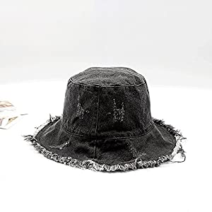 Antique Finish Denim Bucket Hat Sun Protection Hat with Wide Rim Summer Boonie Cap