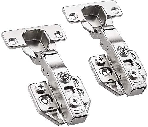 110 Grad Eckanschlag Standard Scharnier mit Soft Close Automatikscharnier Integriert Dämpfung Küchenschrank Kleiderschrank Schranktür Möbel Scharniere 2 Stück (Silber)