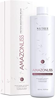 Hair Straightening Brazilian Protein Treatment 1 Step Amazonliss Protein Smoothing Brush - New Formula - Odor-Free - Forma...