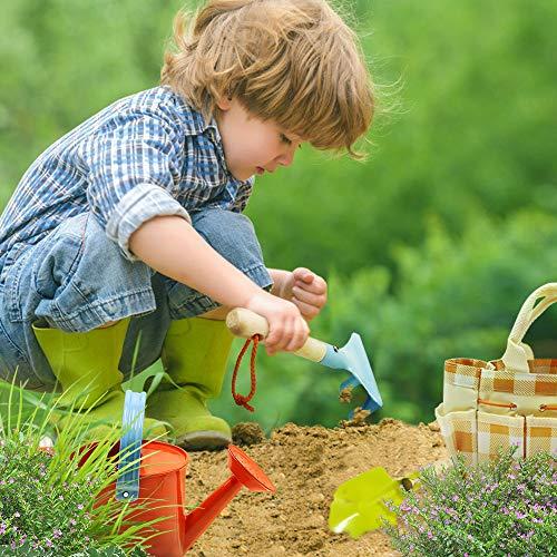 Homegician Kids Gardening Tools Set - Kids Metal, Shovel, Rake, Trowel in One Tote Bag, Including Watering Can, Gardening Gloves, Smock - Outdoor Garden Toys Gift for Toddler Preschool Boys & Girls