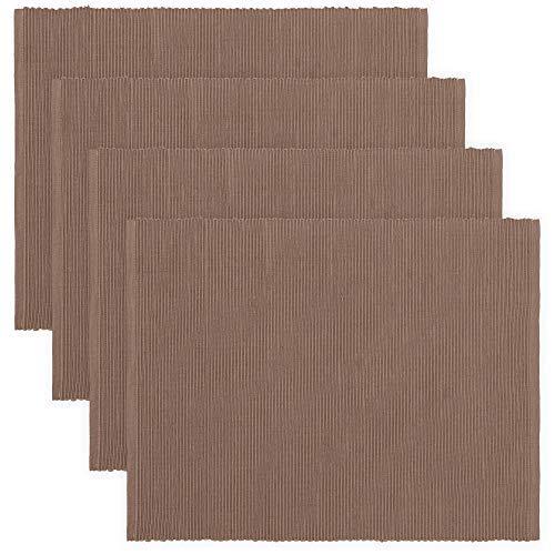 LINUM UNI, Set de Table, Lot de 4, 36 x 46 cm, Coton côtelé, Lavable en Machine (Taupe)