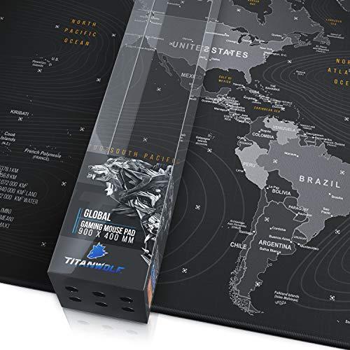 CSL - XXL Speed Gaming Mauspad Titanwolf Weltkarte 900 x 400mm - XXL Mousepad - Tischunterlage Large Size - verbessert Präzision und Geschwindigkeit
