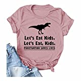 Let's Eat Kids Women's Cute Dinosaur Vintage Graphic T Shirt Funny Leeter Print Short Sleeve Casual Tops (Pink,XL)