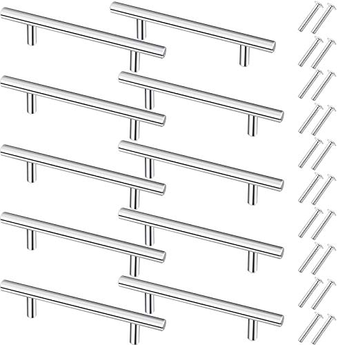 10 Pieces Tray Handles for Tray Resin Molds Brushed Nickel Stainless Steel Handles with 20 Pieces Screw Sets for Serving Tray Silicone Mold Drawer Kitchen Hardware Brass Cabinet Door Handles (Silver)