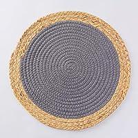 キッチンテーブルランチョンマット4枚セット滑り止めランチョンマット織りランチョンマットキッチンテーブルマットに最適 (Color : Dark gray, Size : 20cm)