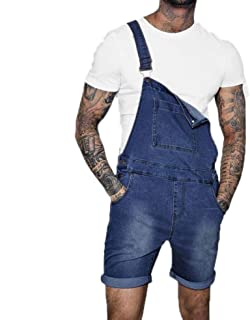 Huateng Men Fashion Ripped Hole Crimping Denim Short Jumpsuit Washed Distressed Short Jeans Overalls Dungarees