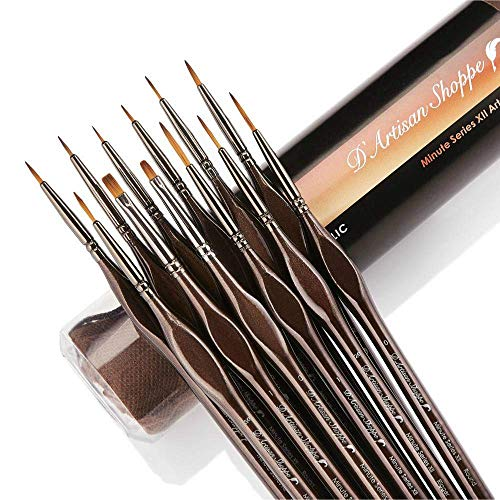 Miniature Paint Brushes Detail Set -12pc Minute Series XII Miniature Brushes for Fine Detailing. Model Brushes for Acrylic Watercolor Oil - Paint by Numbers Art Supplies Kit