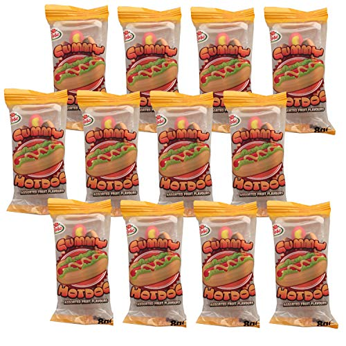 Mini Gummy Hot Dog Fruit Flavour Jelly Candy Sweets Rose Confectionery 8g (Pack of 12)