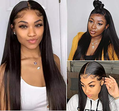 Lace Wigs Human Hair Pre Plucked 13x4 Straight Lace Fronal Wig Unprocessed Brazilian Virgin Hair For Black Women With Baby Hair 150% Density Natural Color Bleached Knots(20 Inches)