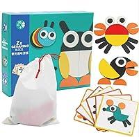 IMAX® かわいい木製ジグソーパズルタングラム用子供29ピースパズル玩具20ピース素敵な動物パズルマニュアル付き収納袋子供早期教育ギフト