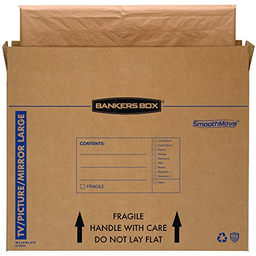Bankers Box SmoothMove TV/Picture/Mirror Moving Box, Large, 48 x 4 x 33 Inches, 4 Pack (7711301),Kraft