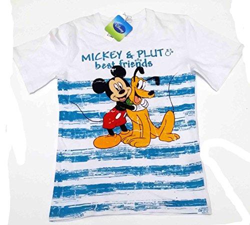 T-shirt demi manches en coton enfant Disney Mickey et Pluto blanc 14 ans