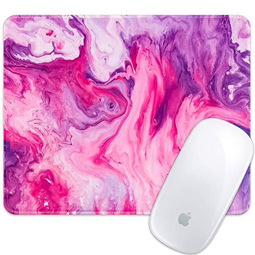 Marphe Mouse Pad Pink Red Marble Mousepad Stitch Edge Non-Slip Rubber Gaming Mouse Pad Rectangle Mouse Pads for Computers Laptop