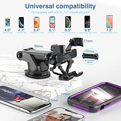 Dracool Support Téléphone Voiture GPS Gravité Grille aération Pare Brise Tableau de Bord par Ventouse pour iPhone 12 11 Pro XS Max XR X 8 7 Se Samsung Galaxy S20+ Ultra S10 9 Note 20 10 9 Plus - Noir