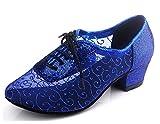 MINITOO QJ9005 Chaussures de Danse Modernes en Filet à Lacets Salsa Tango pour Salle de Bal Latine, Mariage, soirée, Danse - Bleu - Talon Bleu Roi de 4 cm, 39 EU