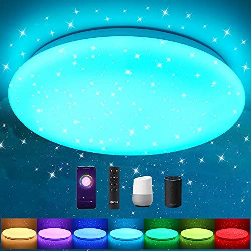 Oeegoo LED Deckenleuchte dimmbar RGB Farbwechsel, 24W 2400LM WIFI Sternenhimmel Deckenlampe dimmbar mit Fernbedienung & APP Für Kinderzimmer Wohnzimmer Schlafzimmer Alexa & Google Kompatibel, φ34cm