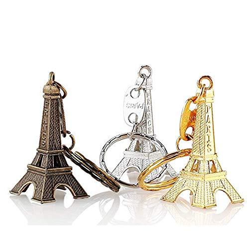 Eiffel - Llavero de metal creativo, diseño de torre de Eiffel, 12 unidades