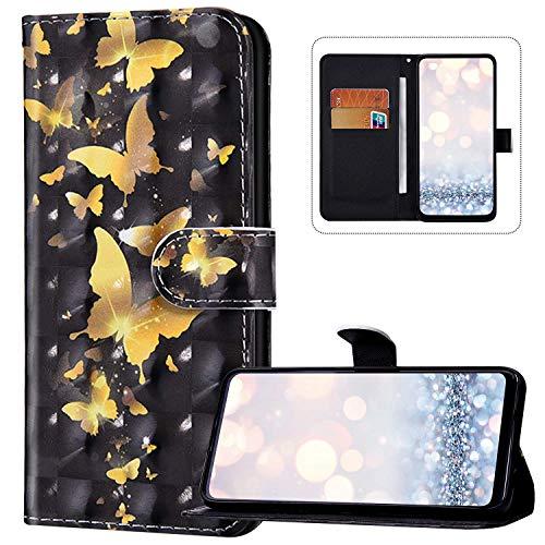 Compatible avec Samsung Galaxy A01 Coque PU Cuir Flip Housse Étui Portefeuille Rabat Case,3D Coloré Motif Magnétique Pochette Etui Housse avec Support Porte Cartes pour Galaxy A01,Papillon or