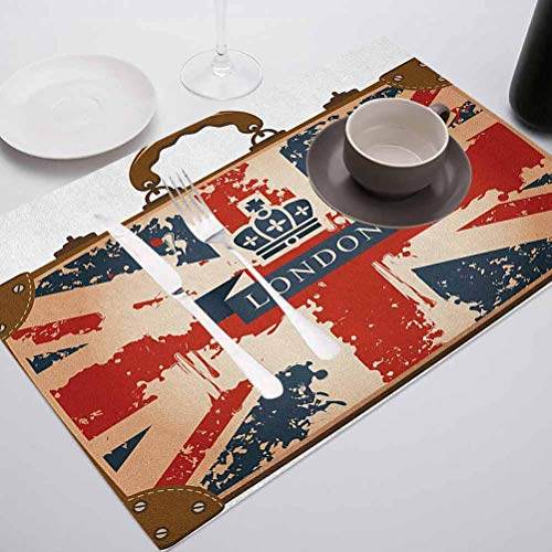 Dining Table Mats Kitchen Tablemat Decor, Union Jack Vintage Travel Suitcase with British Flag London Ri, Suitable for Party Kitchen Dining Decorations, Set of 10