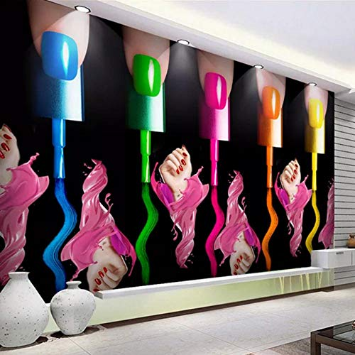 Shuangklei Aangepaste 3D Foto Behang Nagel Make-up Nagel Poolse Arm Cosmetica Shop Mode Abstract Art Muurschildering Papel De Parede 150x120cm