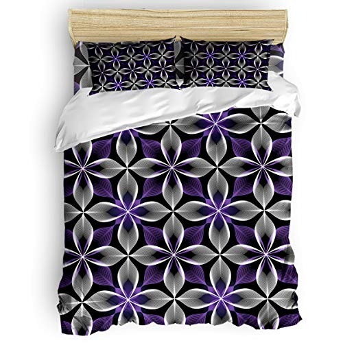 Cloud Dream Home 4 Pieces Luxury Duvet Cover Set Floral Abstract Pattern for Kids/Girl/Women/Adults Purple White Breathable Bedding Comforter Cover Sets with Zipper, 4 Corner Ties Twin