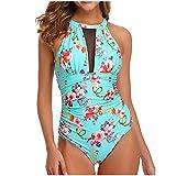 Swimwear 2020 High NeckMesh Ruched Swimming Suit For WomenPrint Swimsuit Monokini Bikini Set Beachwear-Mint_Green_M