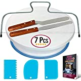 Cake Turntable and Leveler-Rotating Cake Stand with non slip pad- Straight & Offset Spatula-3 Icing...