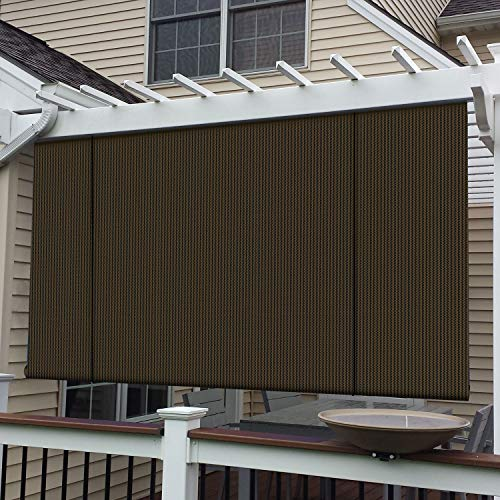 E&K Sunrise Roll up Shade Roller Shade 8'Wx6'H Porch Pergola Privacy Screen Roll up Blinds Sun Shade for Deck Gazebo Patio Back Yard Outdoor Sun Shade Brown
