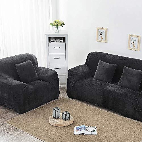 RUILASA Fundas de sofá gruesas para 1/2/3/4 plazas, color puro, protector de sofá de terciopelo, fácil ajuste, tejido elástico., terciopelo, negro, 1 Seater