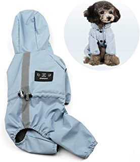 Yuiui ペット 犬 レインコート レインパーカー 雨具 帽子付き カッパ 犬服 ドッグウェア 防水ファブリック 着脱簡単 小型犬 中型犬 適用 (ブルー M)