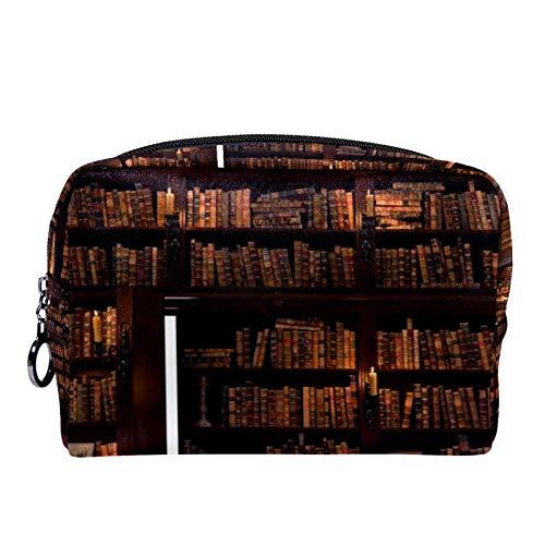 Make-up Taschen Tragbare Reise Kosmetiktasche Organizer Multifunktionskoffer Die Geheimtür im Bücherregal mit Reißverschluss-Kulturbeutel für Frauen