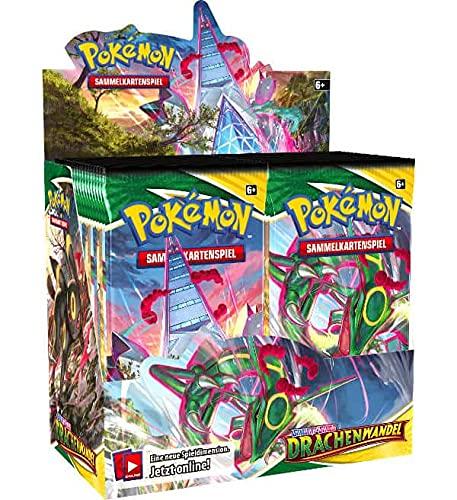 Pokemon Drachenwandel - Display mit 36 Boostern - Deutsch - Schwert & Schild 7 + 100 Heartforcards® Card Guard Soft Sleeves