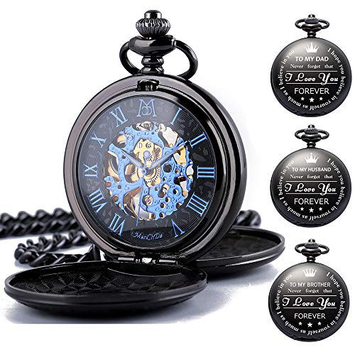 ManChDa Mechanical Engraved Pocket Watches Skeleton Double Cover Roman Numerals Dial Personalized with Box and Chain for Mens Women for Dad Mom Son Graduation Brother