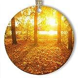 EaYanery - Adorno de cerámica, diseño de hojas amarillas de otoño, diseño de bosque (redondo)