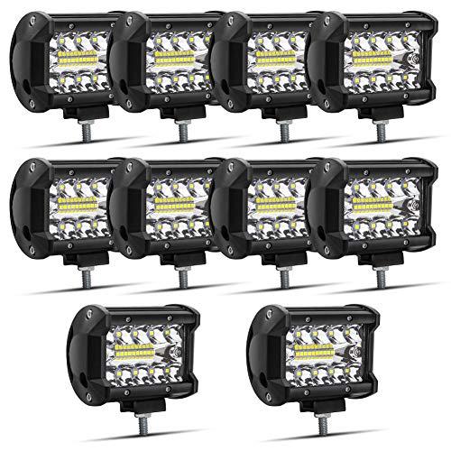 """Safego 4"""" 60W Projecteur LED Lampe de travail Barre LED Phare 1260LM, IP67 Imperméable, Feux Antibrouillard pour Voiture Hors Route Tracteur Camion SUV Bâteau 12V 24V Feux Diurne Lumière, Lot de 10"""