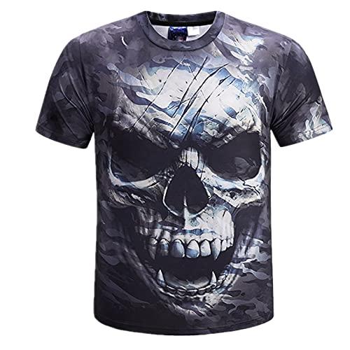 Skulls T Shirts 3D Printed Bones T-Shirt Kurzarm Pink Skull T-Shirt Herren 3XL