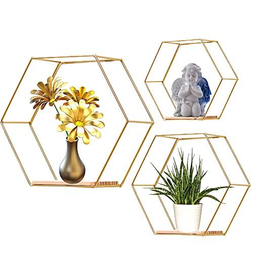 Honeyhouse Juego de 3 estantes hexagonales de metal para pared, estantes de almacenamiento de alambre de metal, estantes para colgar en sala de estar, oficina, dormitorio, baño (dorado)
