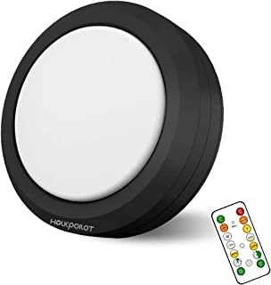 Holkpoilot Puck Lights with Remote Control, LED Under Cabinet Lights,Under Counter Light Battery Operated, Closet Light Di...