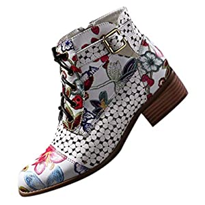 POLP Botines de Tacón Bajo Invierno Vintage Cómodas Botas de Tacón Bajo con Cremallera Mujer Clásicas Zapatos de Tacón…   DeHippies.com