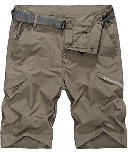 Vcansion Men's Outdoor Lightweight Hiking Shorts Quick Dry Shorts Sports Casual Shorts Khaki US 36