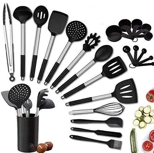 Charlemain Utensili da Cucina in Silicone, 24 Pezzi Accessori Cucina, Set Utensili Cucina in Silicone, Utensili da Cucina Resistenti al Calore, Nero