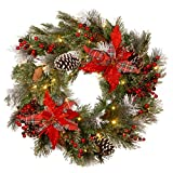 National Tree Company Pre-lit Artificial Christmas Wreath Decorative Collection   Flocked with Mixed Decorations and Pre-strung LED Lights   Tartan Plaid - 24 Inch