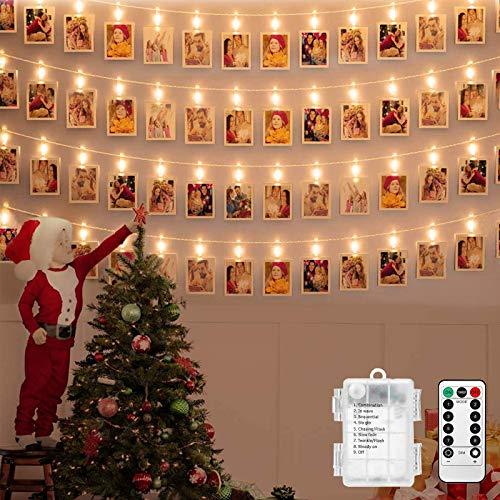 NEXVIN Lichterkette mit klammern für Fotos, 6 Meter Fotolichterkette mit Fernbedienung, 40 LED Photoclips Lichterkette Batterie betrieben (Warmweiß)
