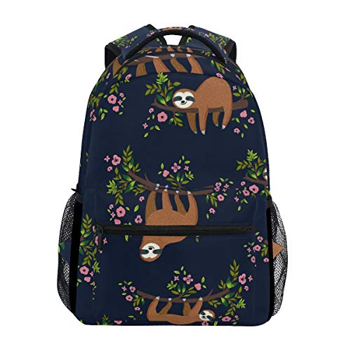 Sloth Backpacks for Girls Boys Kids Women Men Funny Sloth Hanging On The Tree Flowers Branch School Book Bag Casual Travel Camping Daypack
