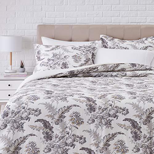 Amazon Basics Bettwäsche-Set aus 100 % Baumwolle, Fadenzahl 300, wendbar, 3-teilig, superweich, Kingsize, elfenbeinfarben