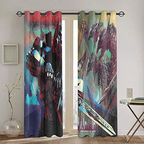 Cortinas con aislamiento térmico para oscurecimiento de Transformers The Last Knight para habitaciones de niños, cortina de ventana de 139,7 x 160 cm