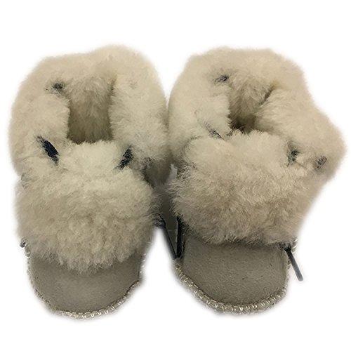 FURFURMOUTON ベビー ムートンルームシューズ 赤ちゃん こども キッズ Baby ベビー靴 室内履き ふわふわ もこもこ かわいい 暖かベビーシューズ SMB812 (ライトグレー)