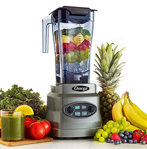 Omega 3HP Blender with 64 OZ BPA Free Container Creates Delicious Smoothies Features Stainless Steel Blades & 11-Speeds Includes Plunger & Recipe Book, 1400-Watt, Silver